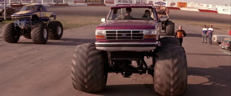 """1992 Ford F250 >> IMCDb.org: Custom Made Monster Truck bodied as 1992 Ford F-Series Regular Cab in """"Rat Race, 2001"""""""